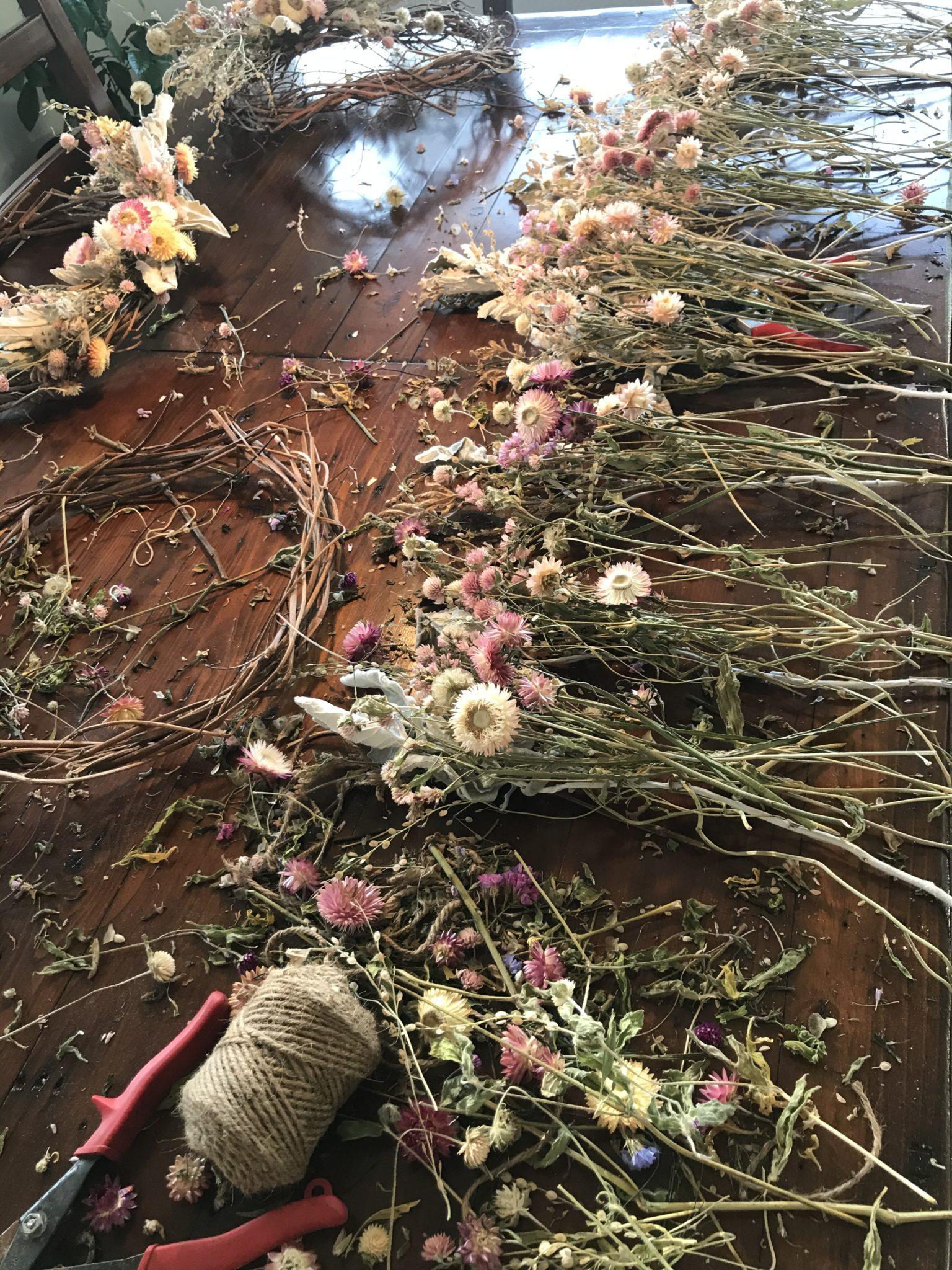 Flower wreath-making