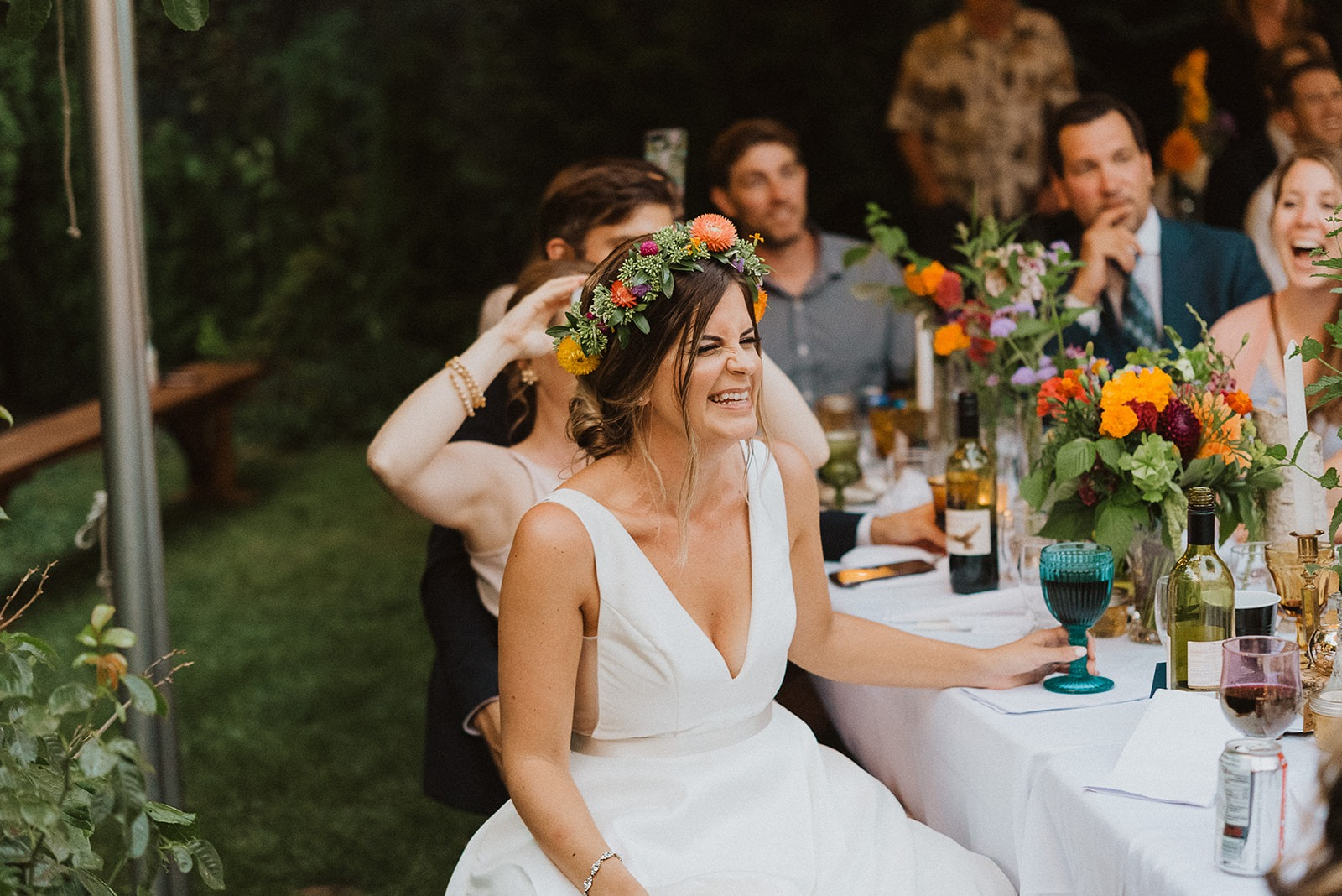 Bride with flower crown
